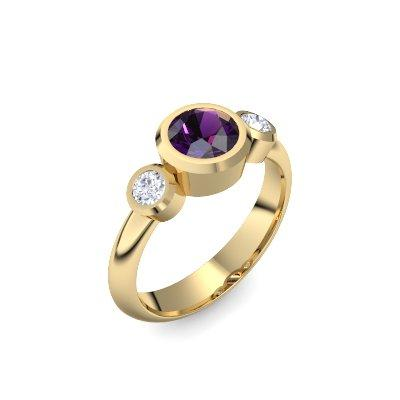 Tripple Emotion - Gelbgold 585 - Amethyst