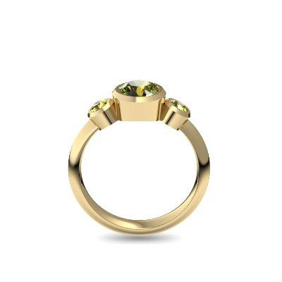 Tripple Emotion - Gelbgold vergoldet - Peridot