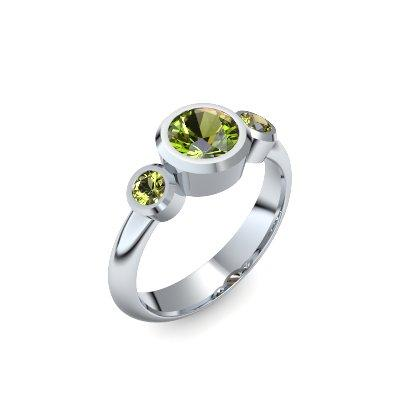 Tripple Emotion - Weißgold 585 - Peridot