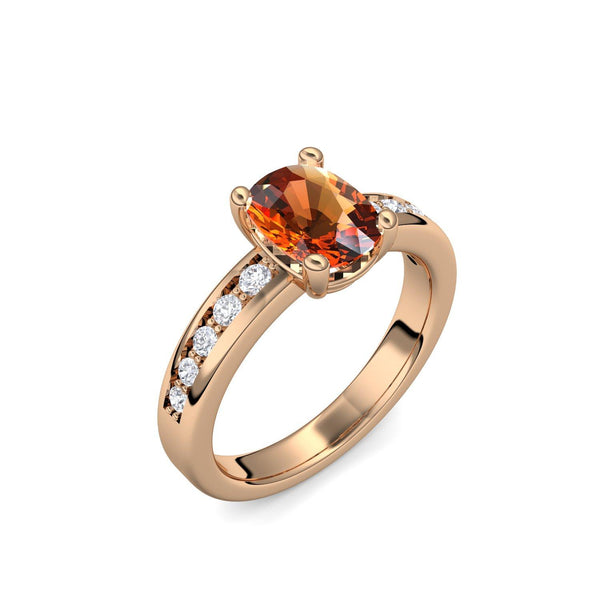 Love Affair - Rosegold vergoldet - Citrin