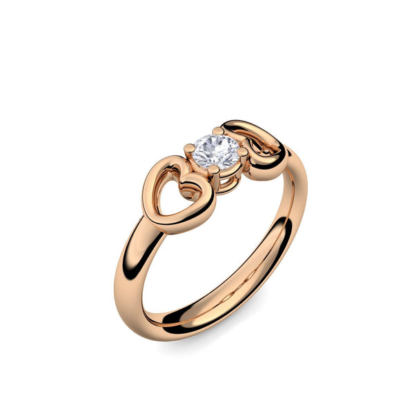Romantic Hearts - Rosegold 585 - Brillant
