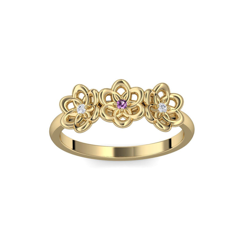 Little Flowers - Gelbgold 585 - Amethyst