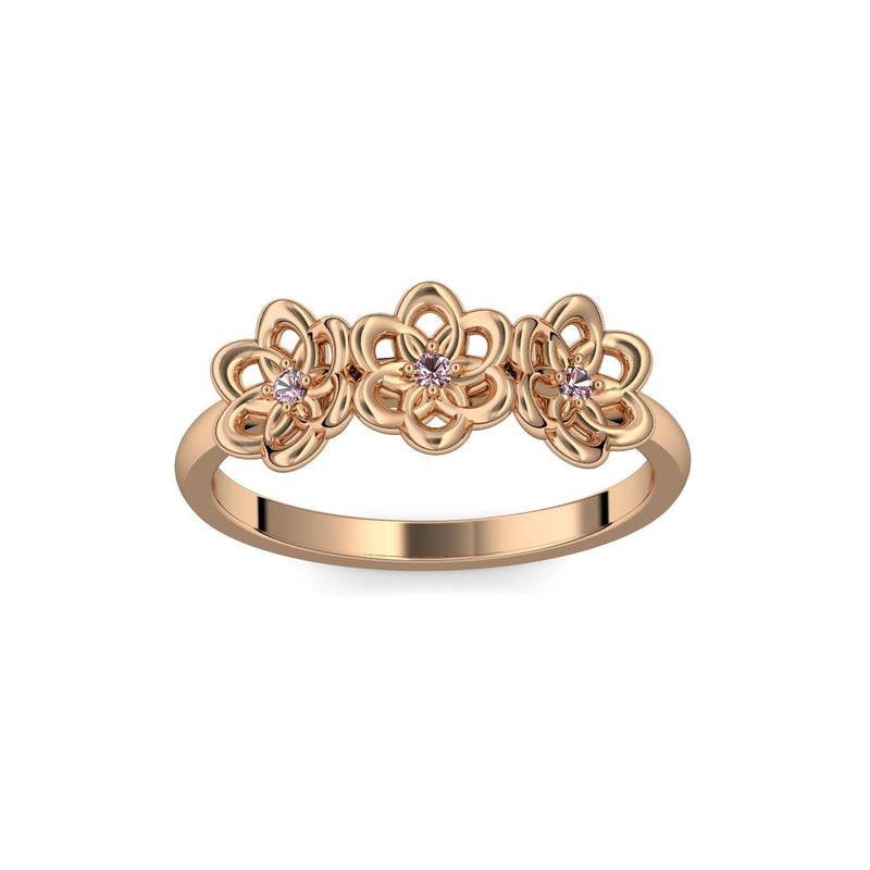 Little Flowers - Rosegold 585 - Turmalin pink