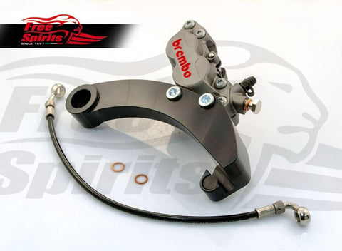 Brembo Caliper 4 Pot Rear Bracket for Harley Davidson Dyna (2008 and up) (Titanium) - Free Spirits - 205802T