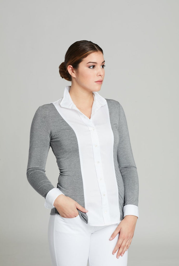 White Twill w Heather Open Placket - The Polished Rider