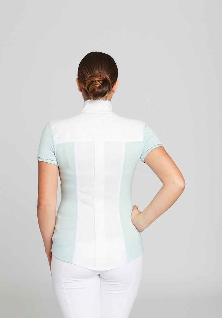 White Twill w Pistachio CC Short Sleeve - The Polished Rider