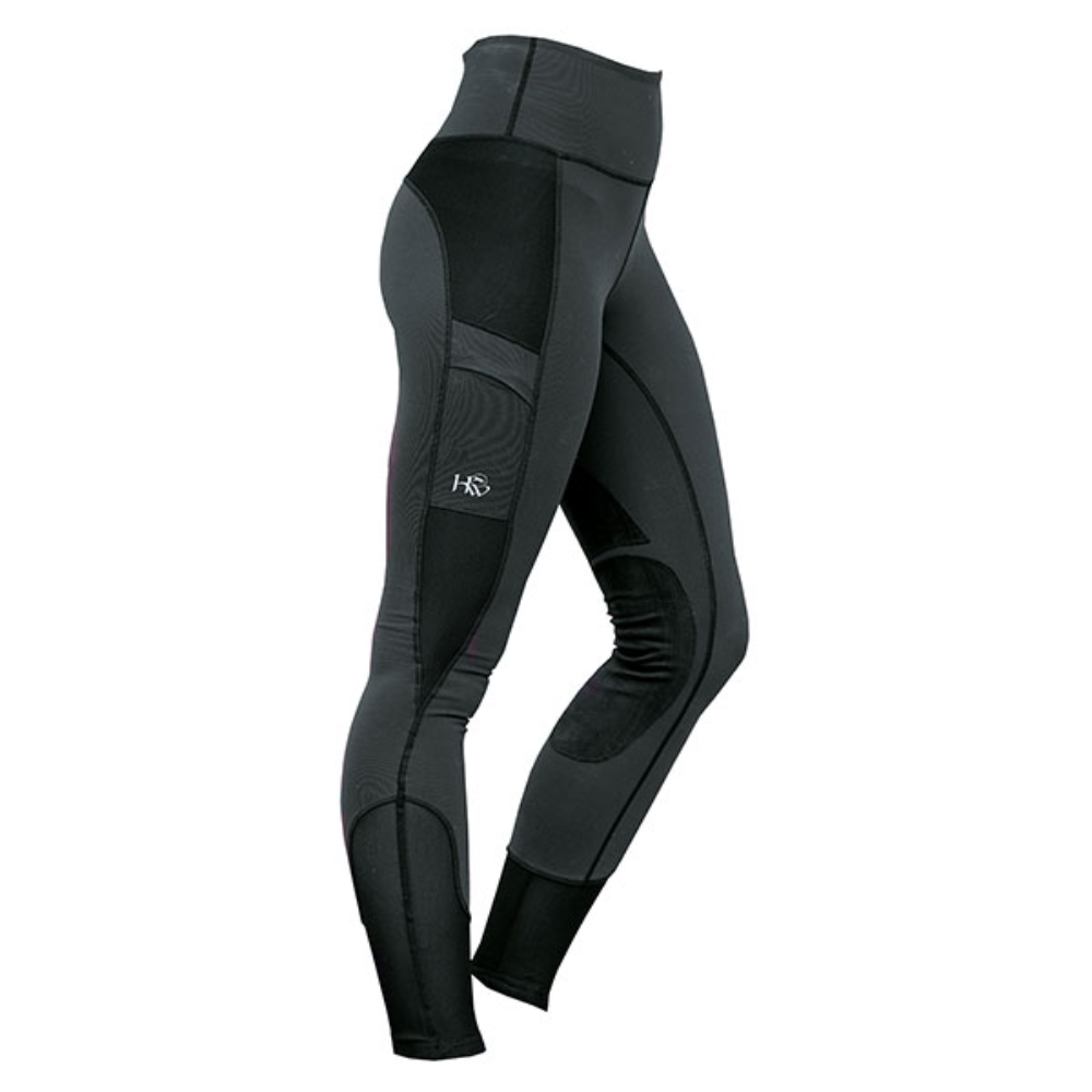 Horseware Riding Tights Mesh Panels Pockets Stretch Reflective Knee Patches