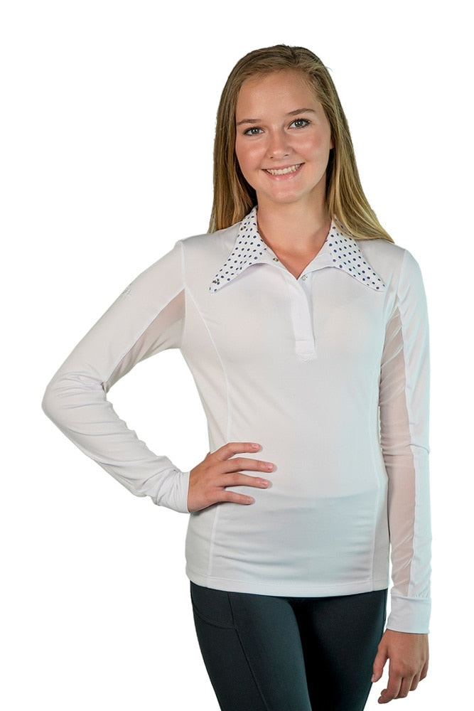 Equestrian Show Shirt White with Navy Polka Dots Trim - The Polished Rider