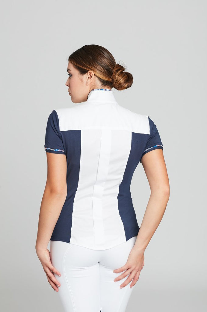 White Twill w Plum CC Short Sleeve - The Polished Rider
