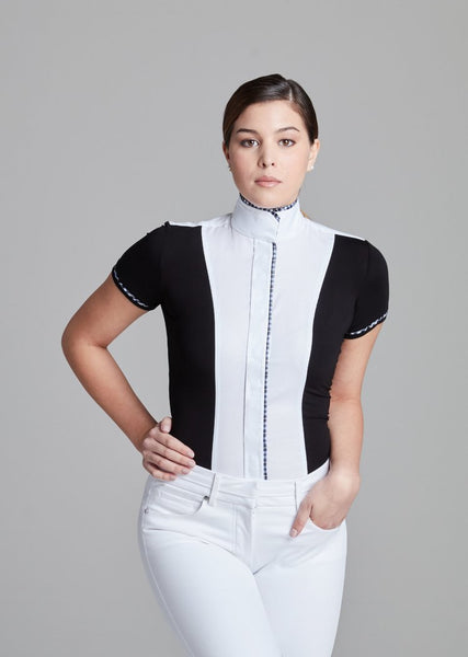 White Twill w Black CC Short Sleeve - The Polished Rider