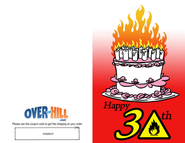 Free Party Invitations - 30th Birthday - Fire Hazzard