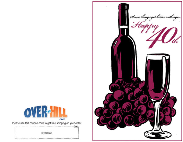 Free Party Invitations - 40th Birthday - Fine Wine
