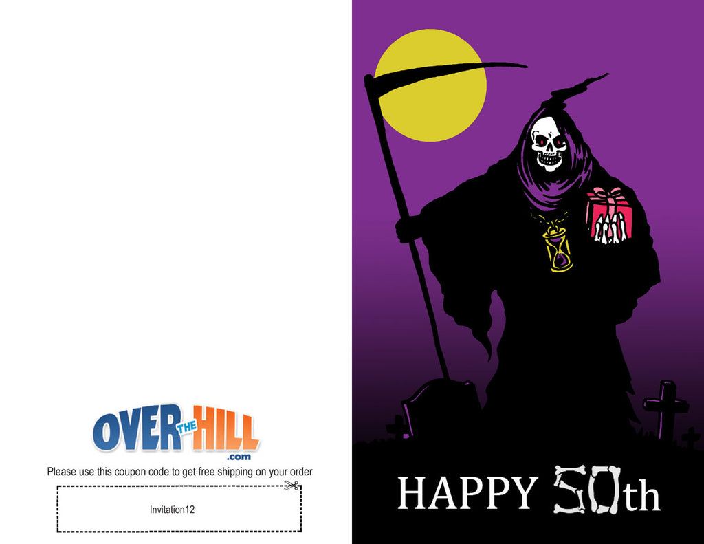 Free Party Invitations - 50th Birthday - Grim Reaper