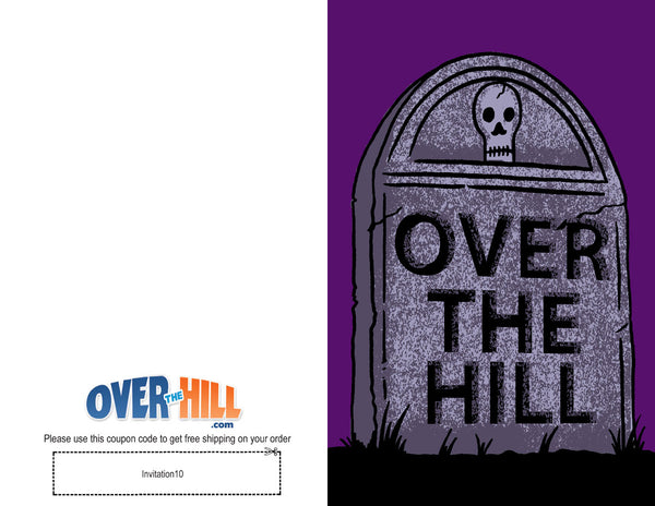 Free Party Invitations - Over the Hill - Gravestone