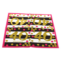 Pink and Gold 40th Birthday Cocktail Napkins