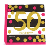 Pink and Gold 50th Birthday Dinner Napkins