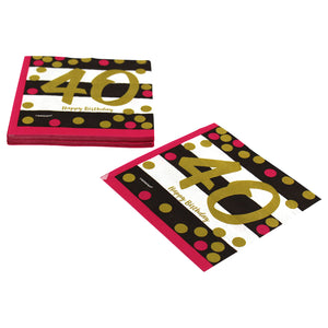 Pink and Gold 40th Birthday Dinner Napkins