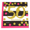 Pink and Gold 50th Birthday Cocktail Napkins