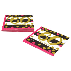 Pink and Gold 60th Birthday Dinner Napkins