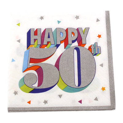 Colorful 50th Birthday Cocktail Napkins