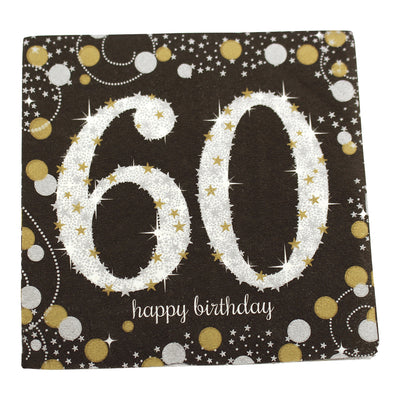 Sparkling 60th Birthday Cocktail Napkins