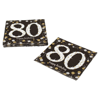 Sparkling 80th Birthday Cocktail Napkins