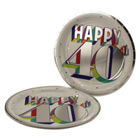 Colorful 40th Birthday Dinner Plates
