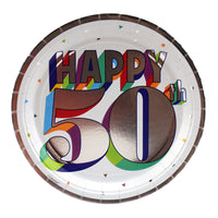 Colorful 50th Birthday Dinner Plates