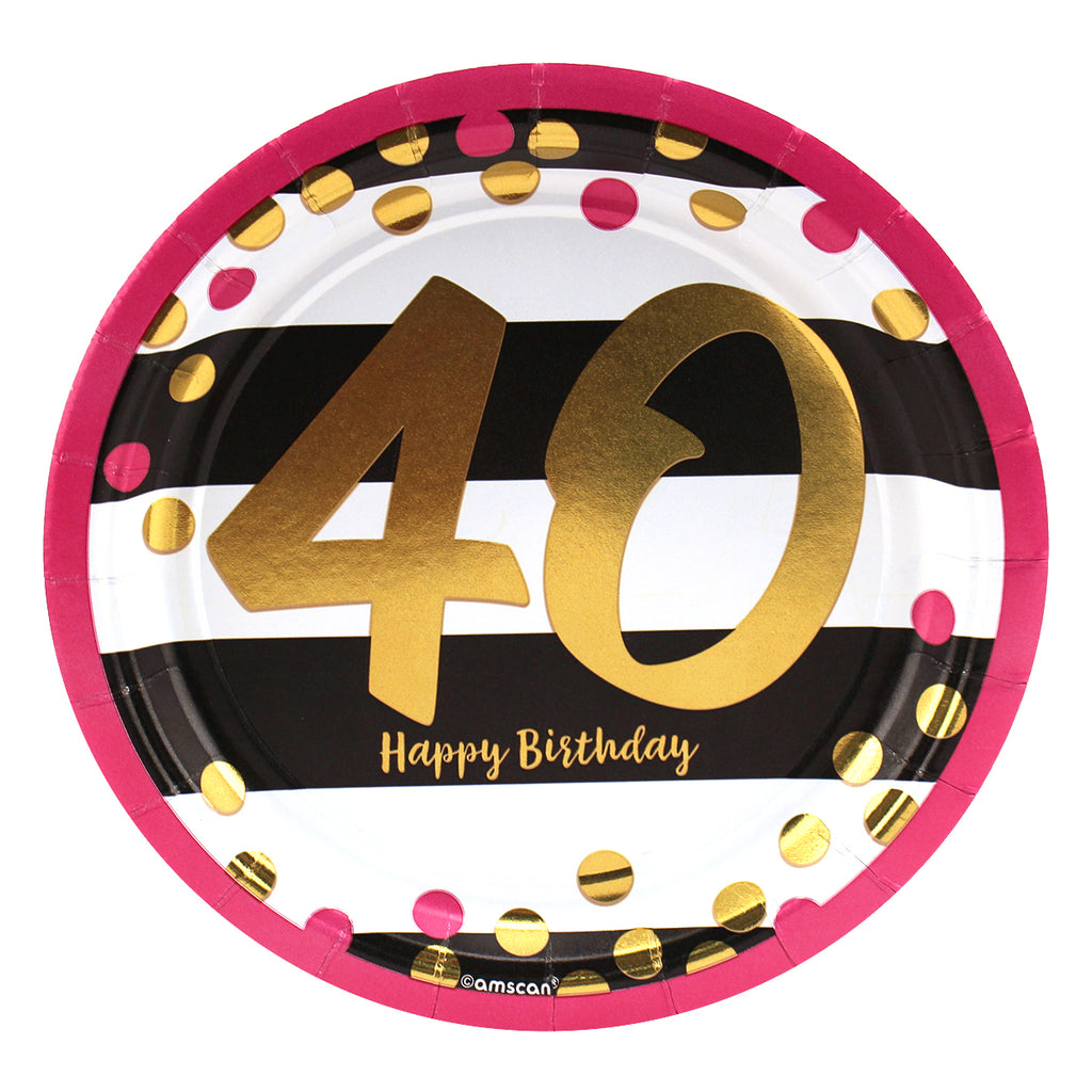 Pink and Gold 40th Birthday Dinner Plates