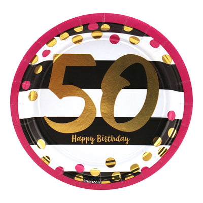 Pink and Gold 50th Birthday Dessert Plates