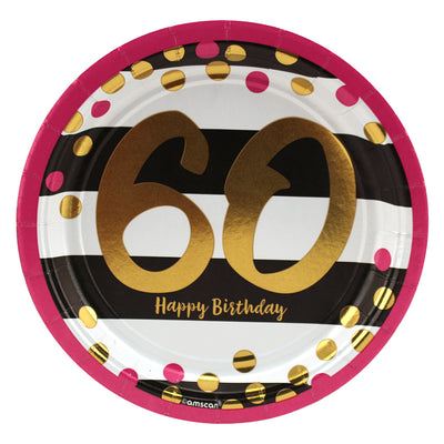Pink and Gold 60th Birthday Dinner Plates