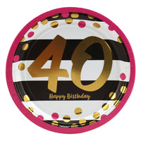 Pink and Gold 40th Birthday Dessert Plates