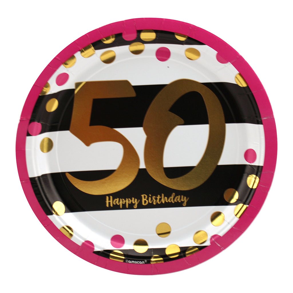 Pink and Gold 50th Birthday Dinner Plates