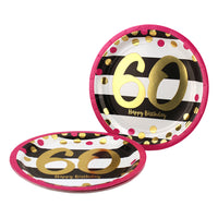 Pink and Gold 60th Birthday Dessert Plates