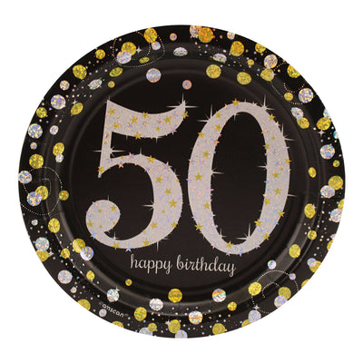 Sparkling 50th Birthday Dessert Plates