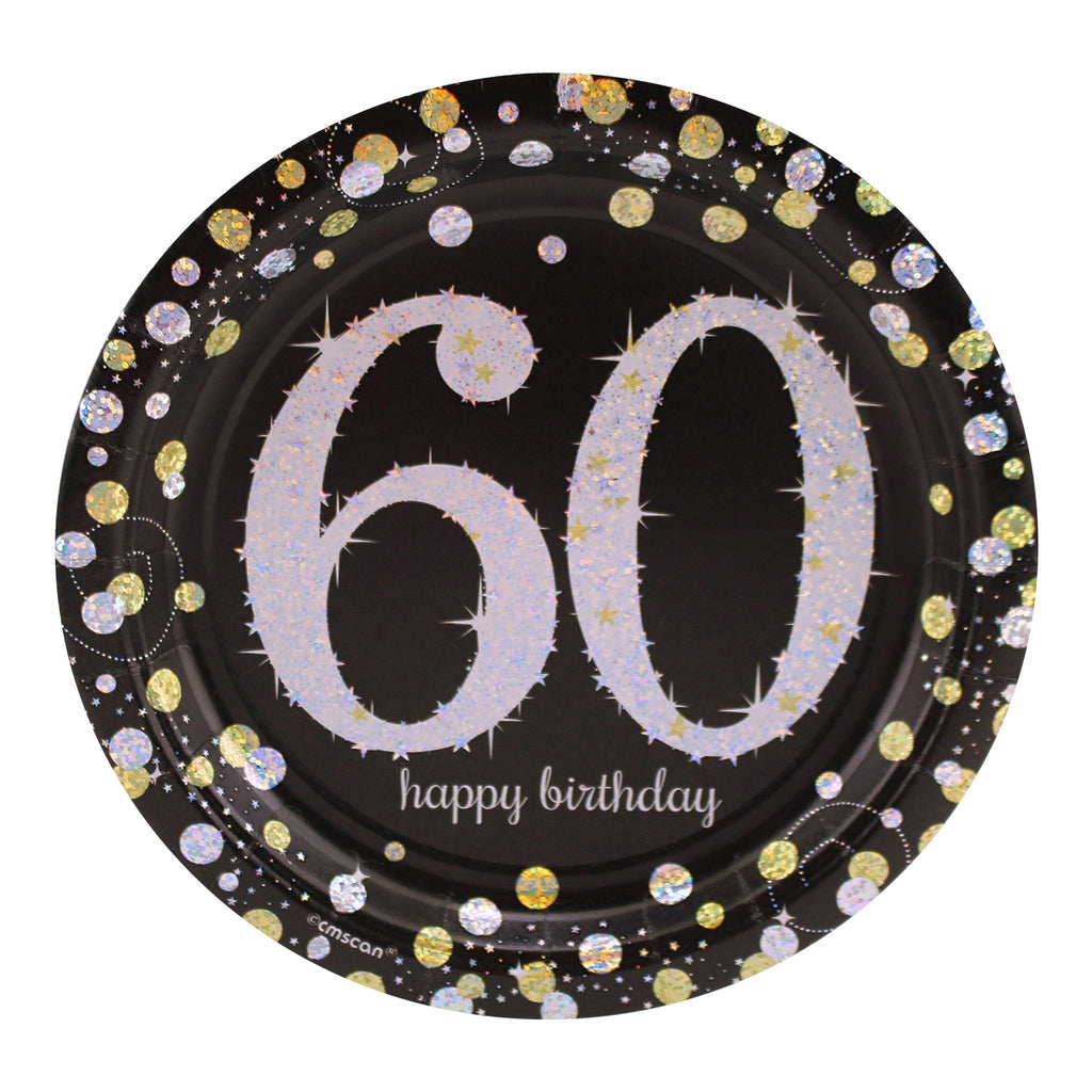 Sparkling 60th Birthday Dessert Plates