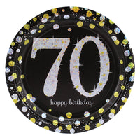 Sparkling 70th Birthday Dessert Plates