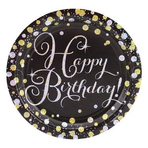 Sparkling Happy Birthday Dessert Plates