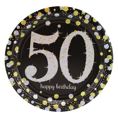 Sparkling 50th Birthday Dinner Plates