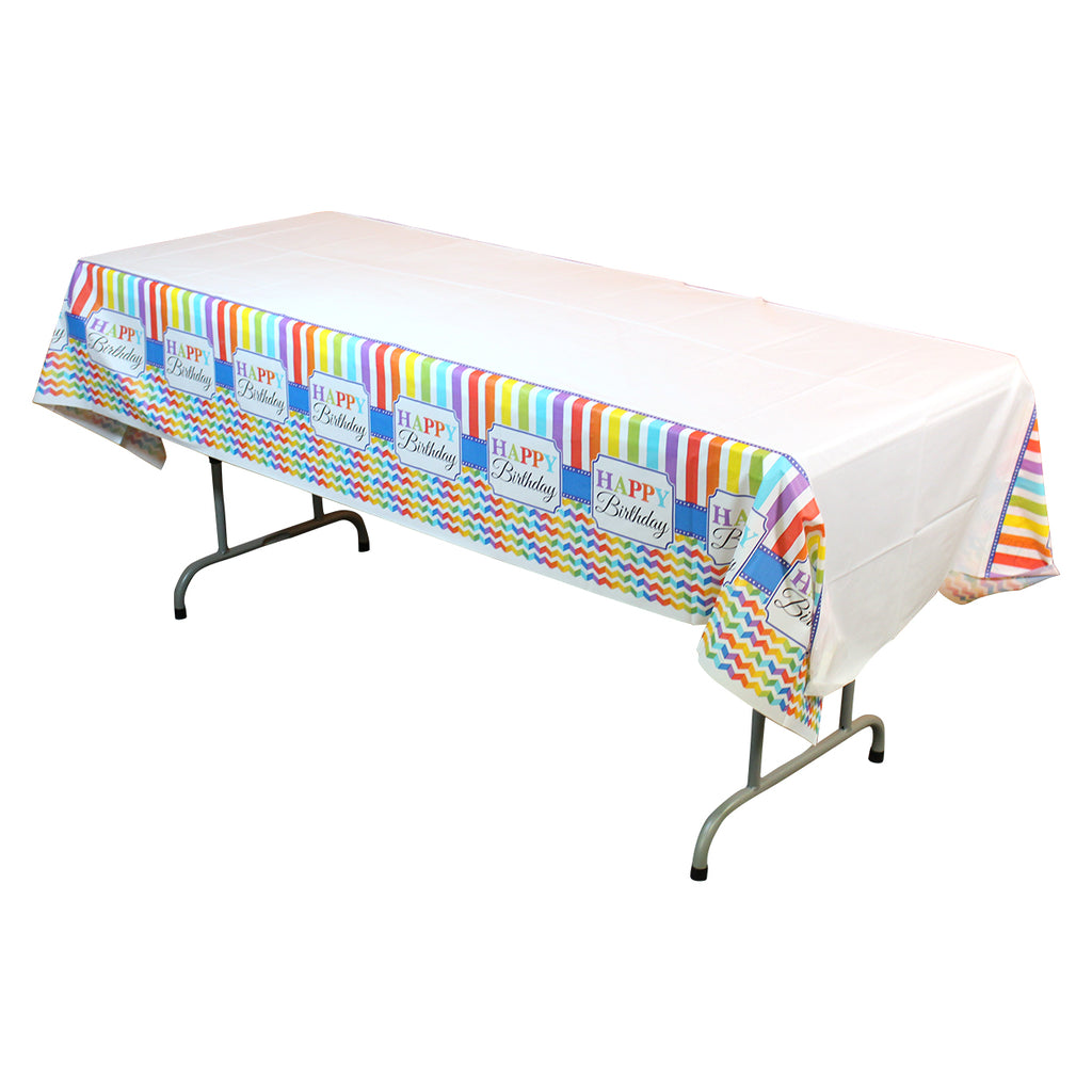 Rainbow Happy Birthday Table Cover