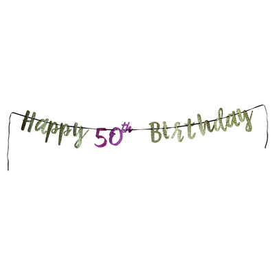 Pink and Gold 50th Birthday Letter Banner