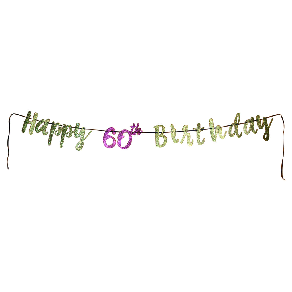 Pink and Gold 60th Birthday Letter Banner