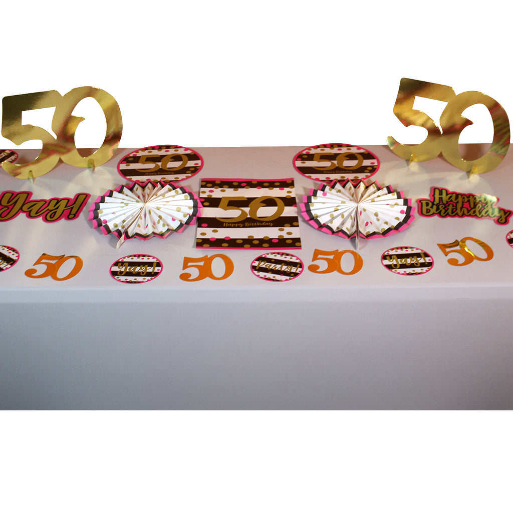 Pink and Gold 50th Room Decorating Kit