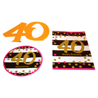 Pink and Gold 40th Room Decoration Kit