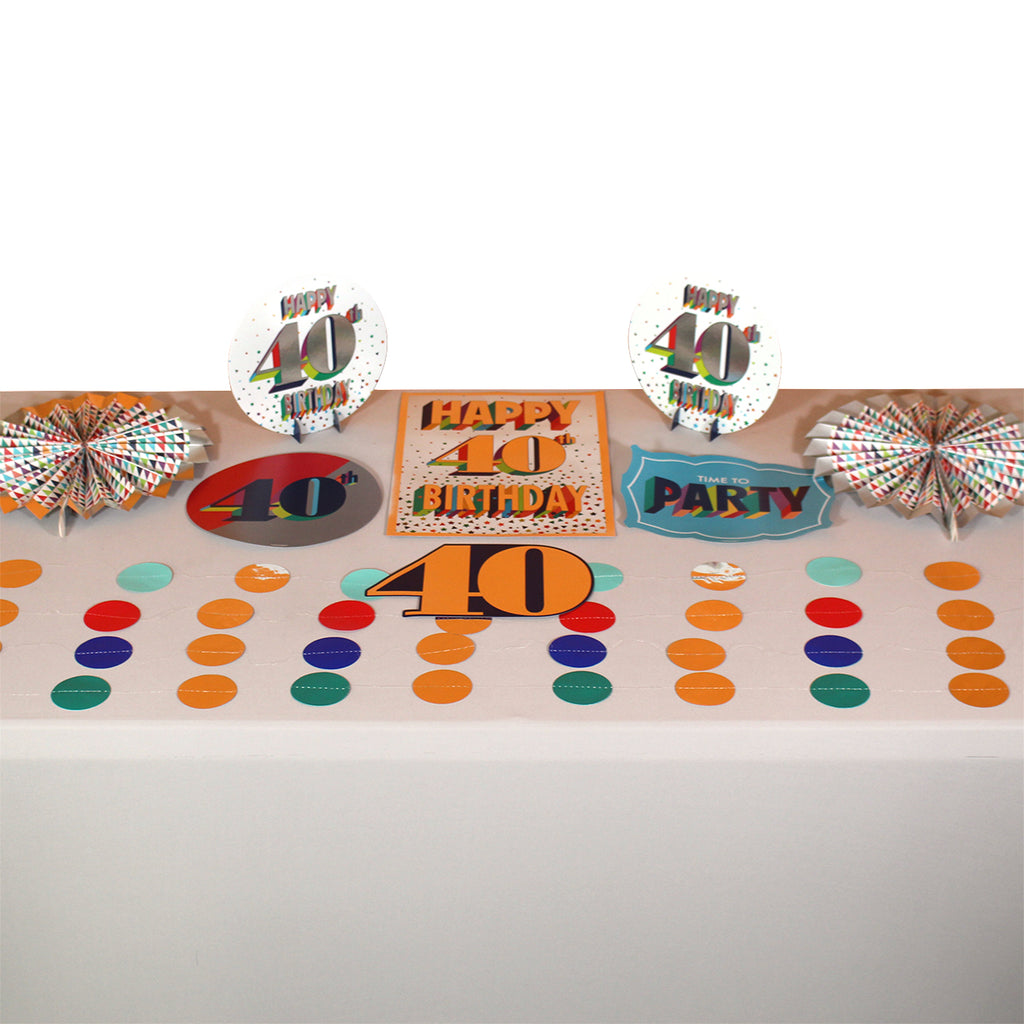 Colorful 40th Room Decoration Kit