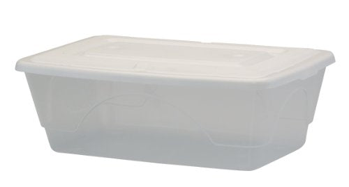 United Solutions TO0038 Six Quart Clear Plastic Storage Container with Lid - 6QT Organizing Box and Lid in Clear-Shoe Box-Organize Your Home