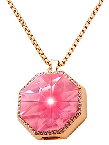 XIKEZAN Bluetooth Necklace Smart Pendant Anti Lost Call Reminder with Bling Crystal Diamond (Octangle Pink)
