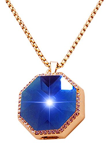 XIKEZAN Bluetooth Necklace Smart Pendant Anti Lost Call Reminder with Bling Crystal Diamond (Octangle Blue)