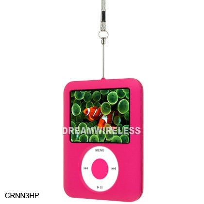 HOT PINK HARD RUBBER CASE FOR IPOD NANO 3