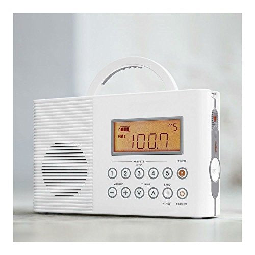 White - H201 AM/FM/Weather, Digital tuned Waterproof Shower Radio,